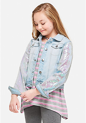 Sequin Sleeve Denim Jacket