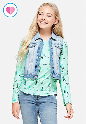 Flip Sequin Denim Vest