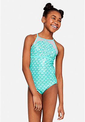 Mermaid Scale High Neck One Piece