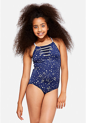 Celestial Shimmer Lace Up One Piece