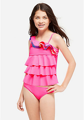 Pom One Shoulder Tiered Tankini