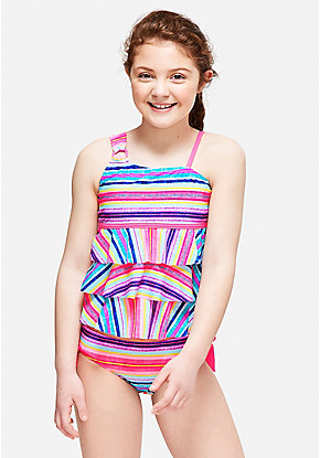 Boho Stripe One Shoulder Tiered Tankini