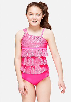 Shimmer Star One Shoulder Tiered Tankini
