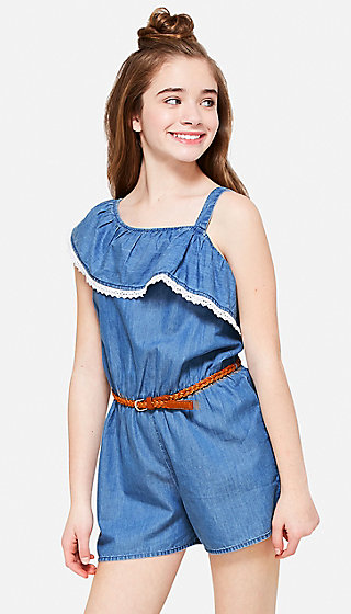 Denim One-Shoulder Ruflle Romper