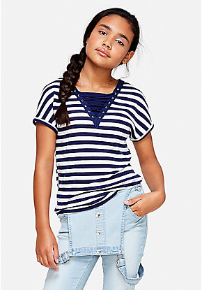 Stripe Lace Up Tee