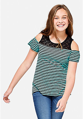 Crochet Stripe Cold Shoulder Top