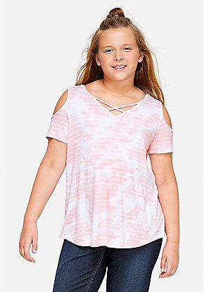 Cross Front Cold Shoulder Top