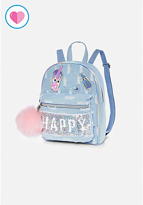 Flip Sequin Denim Mini Backpack