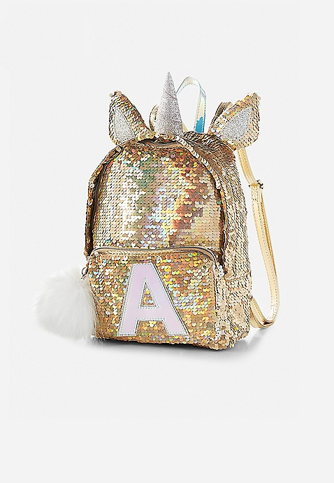 Justice Gold Unicorn Flip Sequin Large Backpack /& Lunch Box Tote /& Water Bottle