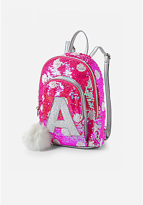 Pink Flip Sequin Initial Mini Backpack