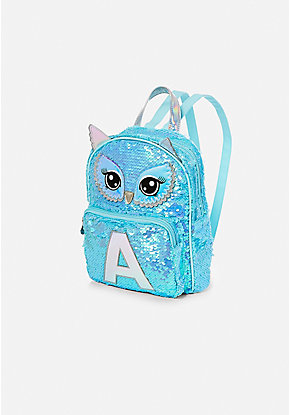 Owl Flip Sequin Initial Mini Backpack