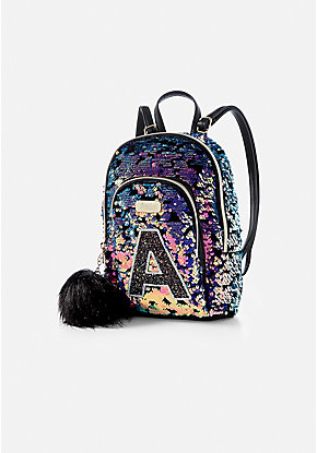 Flip Sequin Initial Mini Backpack