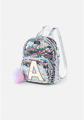 Pastel Initial Flip Sequin Mini Backpack bf70a941149f1