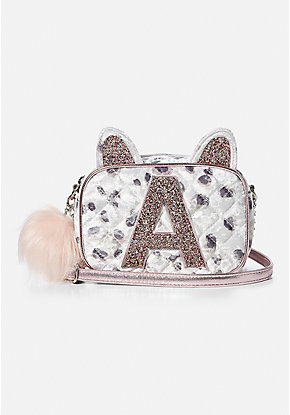 Quilted Cheetah Initial Crossbody