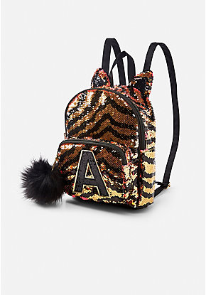 Tiger Initial Flip Sequin Mini Backpack 4a6588133db49