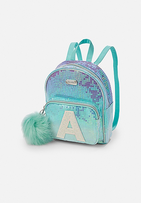 Justice Girls Initial I Mini Backpack Ombre Purple Blue Sequins Ears New