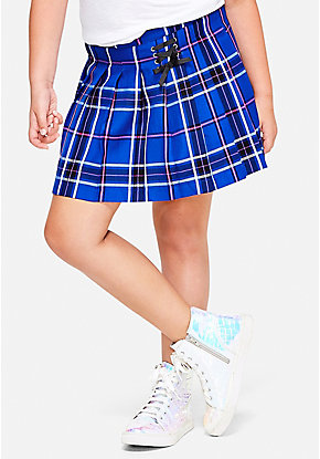 Plaid Lace Up Skirt