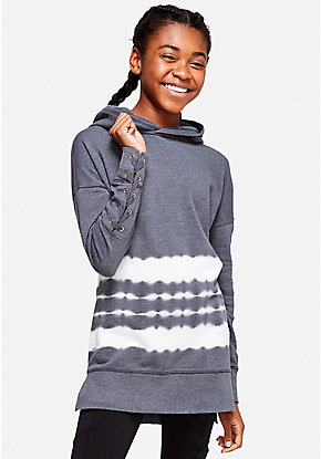 Tie Dye Lace Up Tunic Hoodie